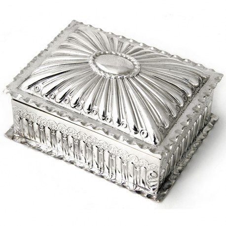 Antique Victorian Wood Lined Silver Jewellery or Trinket Box (c.1900)