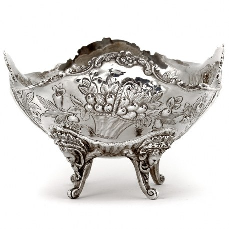 Antique Victorian Silver Four Footed Bowl Heavily Chased with Baskets of Flowers (1891)