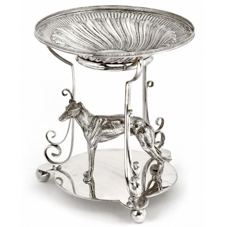 Antique Silver Plate Centre Piece with a Standing Greyhound and a Floral Dish