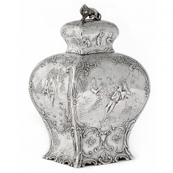 Decorative Antique Continental Silver Tea Caddy with Scenes of Courting Couples