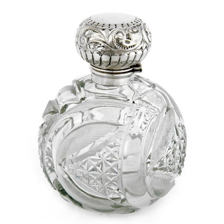 Edwardian Large Size Cut Glass and Silver Topped Perfume Bottle