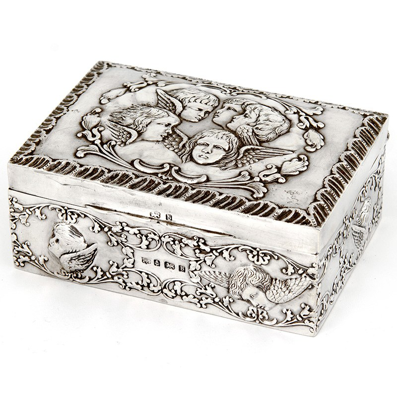 Silver Reynolds Angel Style Jewellery Box with Blue Velvet Lining 1901