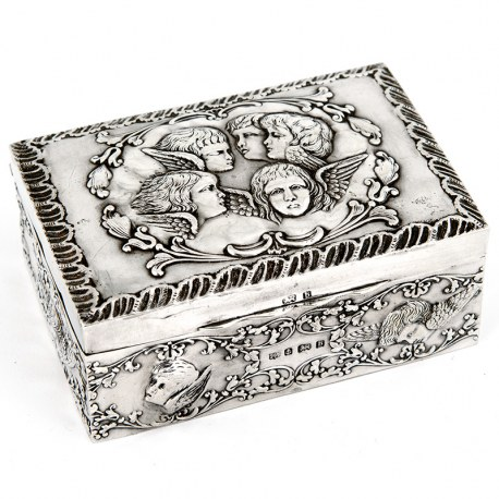 Rectangular Antique Silver Reynolds Angels Jewellery Box (1901)