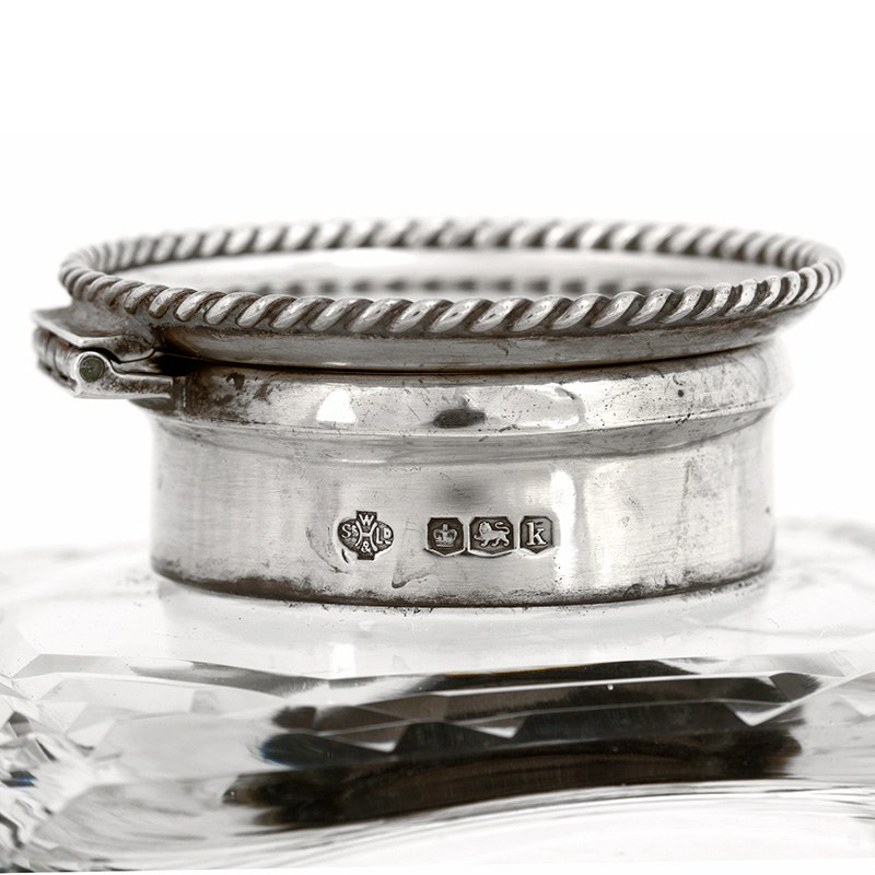 Impressive Gutsy Square Glass And Silver Lidded Inkwell 1927