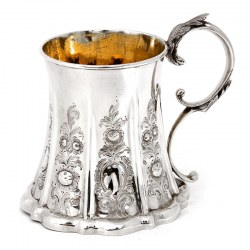 Early Victorian Silver Waisted |Cylindrical Christening Mug with Gilt Interior (1854)