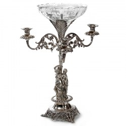 Victorian Silver Plated Epergne with Three Candle Holders and Three Female Figures (c.1870)