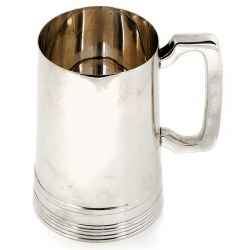 Plain Circular Tapering Silver Pint Mug with a Bracket Handle