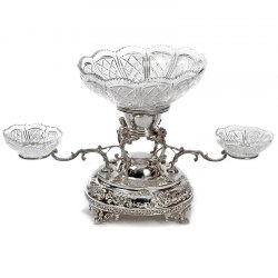 Late Victorian Silver Plate Centre Piece Epergne with Cut Glass Dishes and Four Gargoyles