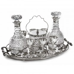 Victorian Silver Plate Drinks Tray with Two Decanters, an Ice Pail and Six Goblets