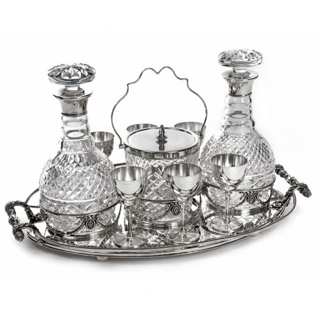 Victorian Silver Plate Drinks Tray with Two Decanters, an Ice Pail and Six Goblets (c.1880)