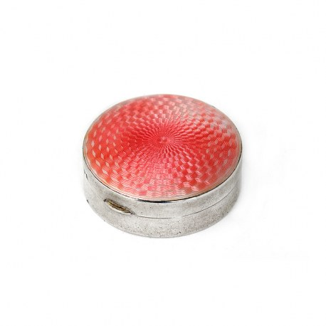 Round Silver and Pink Guilloche Enamel Box with Removable Mirror (1927)