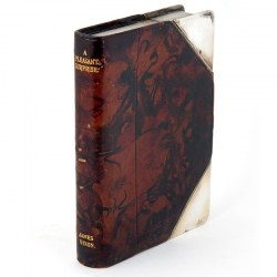 Pleasant Surprise Antique Leather and Silver Plate Book Shape Flask c.1900