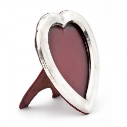 Antique Silver Heart Shaped Photo Frame with Original Red Velvet