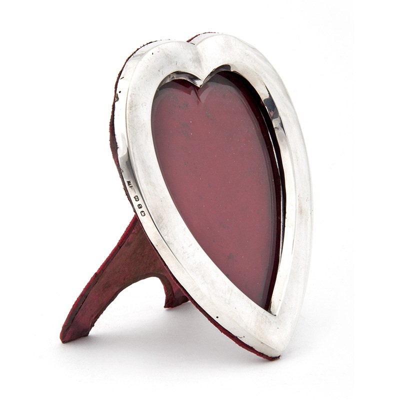 Victorian Heart Shaped Silver Frame with Easel Stand (1897)