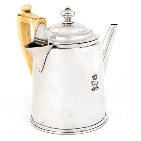 Antique Victorian Silver Plate Argyle with Straight Spout and Ivory Handle (c.1880)
