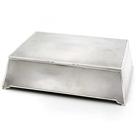 Art Deco Style Silver Box with Engine Turned Design, Sloping Sides and Cedar Wood Lining