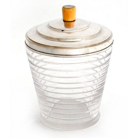 Art Deco Style Glass Ice Pail or Biscuit Barrel with a Silver Plate Lid and Ivory Finial