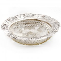 Cut Glass and Silver Plate Applied Border Antique Fruit Bowl