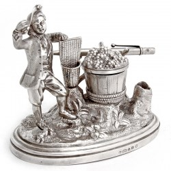 Decorative Victorian Silver Plate Ink Well of a Pesant Farmer Picking Grapes