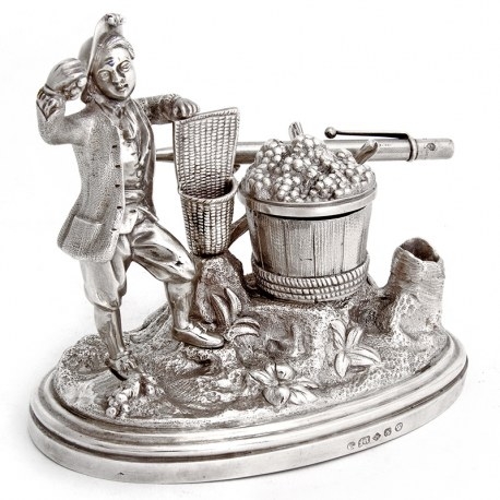 Decorative Victorian Silver Plate Ink Well of a Peasant Farmer Picking Grapes (c.1880)