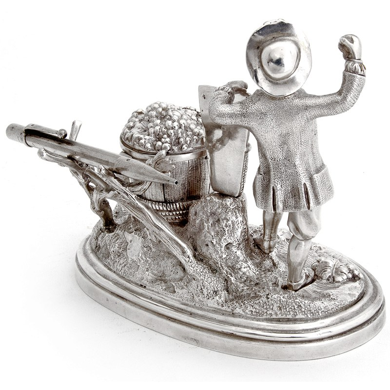 Antique Victorian Silver Plate Farmer Collecting Grapes