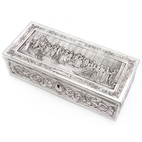 Large Victorian Silver Plated Box Depicting a Grand Ball with Musicians and Dancing (c.1890)