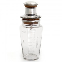 Glass and Silver Plate Cocktail Shaker with Acid Etched Measuring Scale on the Side