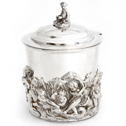 Late Victorian Antique Silver Plate Mappin & Webb Circular Biscuit Box with Cherub Finial