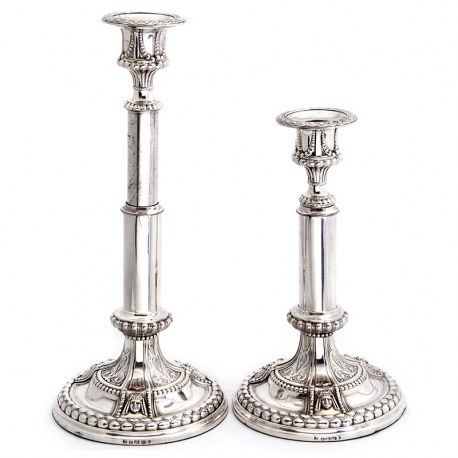 Pair of Rare and Unusual Elkington & Co Silver Plate Telescopic Candle Sticks