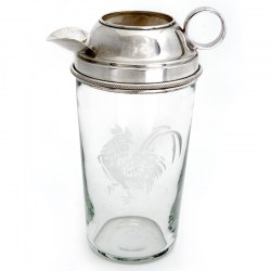 Clear Glass and Silver Plate Mixer with a Cockerel Motif Etched on the Glass Body
