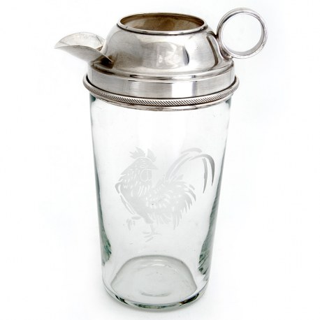 Clear Glass and Silver Plate Mixer with a Cockerel Motif Etched on the Glass Body (c.1930)