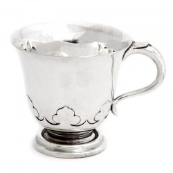 Plain Lipped Body and Cut Cardwork Base Silver Christening Mug
