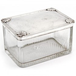 French Silver and Cut Glass Art Deco Style Box with Shells on Each Corner of the Lid