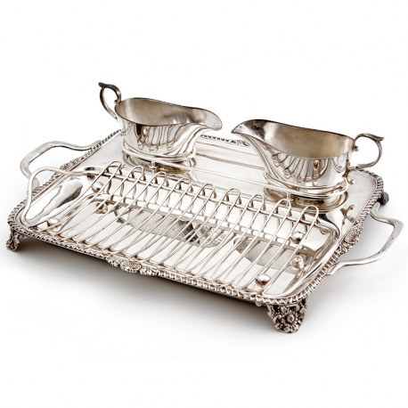 Antique Silver Plated Asparagus Serving Stand with Two Sauce Boats
