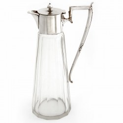 Antique Silver Plate and Clear Facet Cut Glass Circular Claret Jug (c.1900)