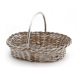 Antique Silver Plate Wicker Basket with a Fixed Handle