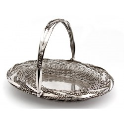 Victorian Silver Plated Woven Wire Swing Handle Oval Basket (c.1870)