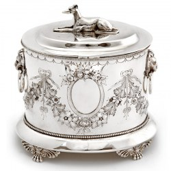 Decorative Antique Silver Plated Biscuit Box with a Greyhound Finial c.1890