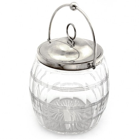 Victorian Silver Mounted Cut Glass Barrel with a Swing Handle and Pull Off Lid (1898)