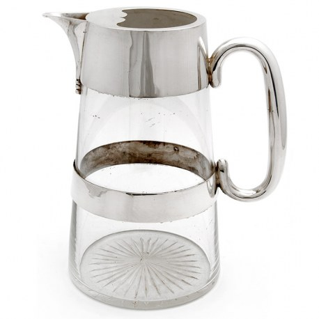Large Victorian Plain Silver Plate and Cut Glass Water Jug with D Handle (c.1890)