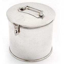 Large Victorian Plain Silver Plate Circular Biscuit Barrel with a Hinge Bracket Latch
