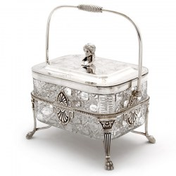 Victorian Silver Plate and Cut Glass Biscuit Box with Female Bust Finial