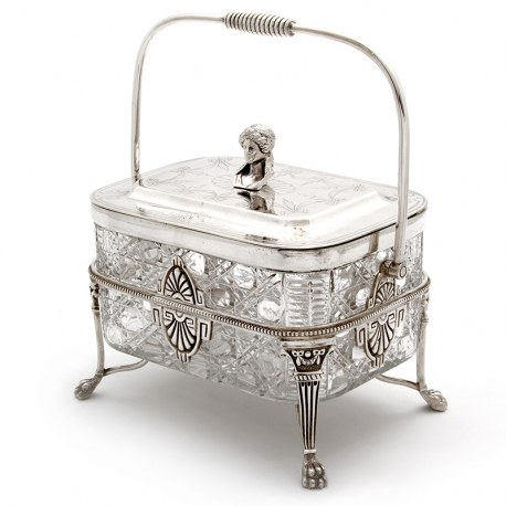 Victorian Silver Plate and Cut Glass Biscuit Box with Female Bust Finial (c.1890)