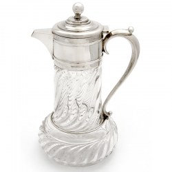 Victorian Silver Plated Mount Claret Jug with Spiral Cut Glass Body