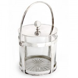 Antique Glass and Silver Plate Lidded Barrel