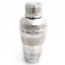 Masculine Silver Plated Cocktail Shaker with Four Engine Turned Bands