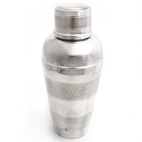 Masculine Silver Plated Cocktail Shaker with Four Engine Turned Bands (c.1940)