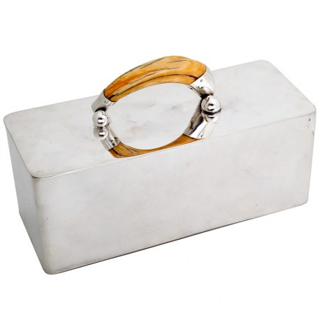 Antique Large Silver Plated Box with Applied Boar Tusk Handle (c.1890)