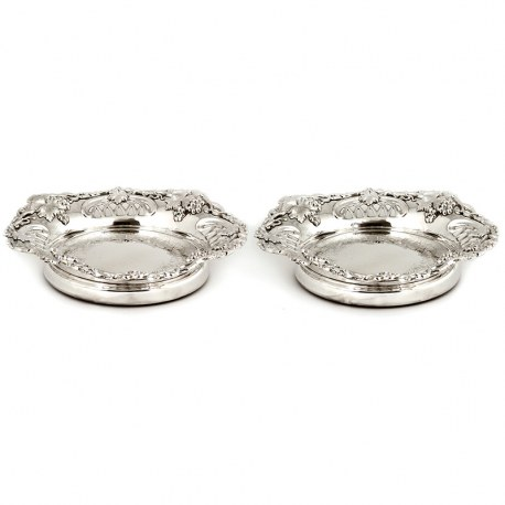 Pair of Large Antique Silver Plated Coasters with Grape Vine Decoration (c.1890)