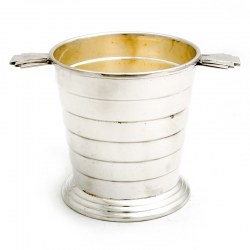 Art Deco Silver Plated Ice Pail with Fan Shaped Stepped Tab Handles and Strainer (c.1930)